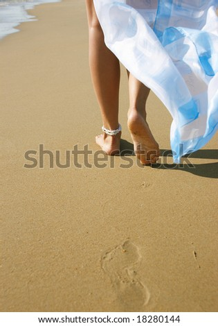 Traces on sand - stock photo