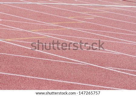 Track and field stadium. The markup on the racetracks. - stock photo