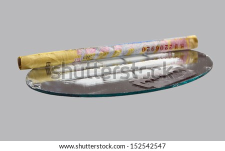 Track Cocaine on mirror, on a gray background - stock photo