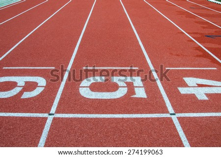 Track Lane Numbers - stock photo