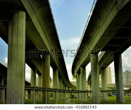 Track of Singapore mass rapid train (MRT) again blue sky.  - stock photo