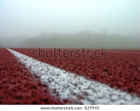 Track on a foggy day. - stock photo