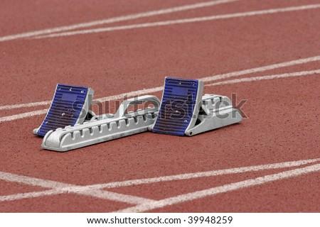 Track starting blocks - stock photo