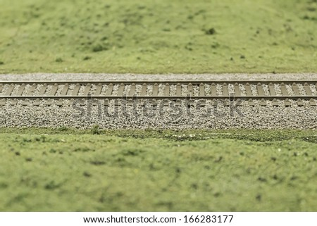 Track vegetation model train, transportation - stock photo