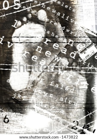 Tracks of feet burned in newspapers((digital composition) - stock photo