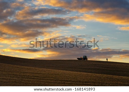 Tractor, a man collects stones - stock photo