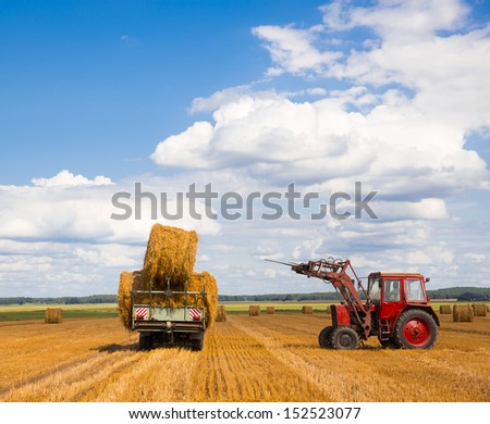 Tractor carrying hay at field in summer day - stock photo