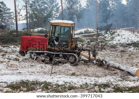 Tractor for export of timber logs unload them. - stock photo