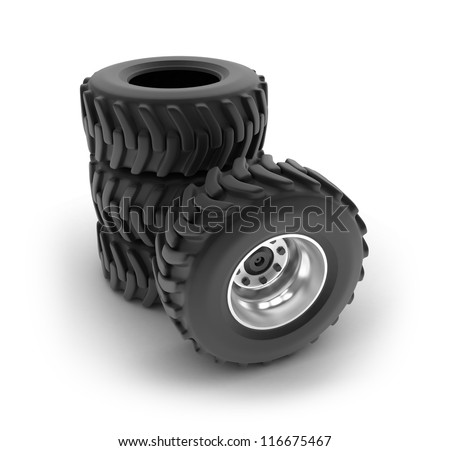 Tractor heavy wheels set isolated on white . My own design - stock photo