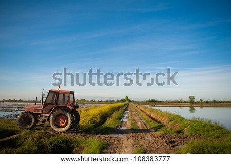 Tractor in rural Italy rice fields - stock photo