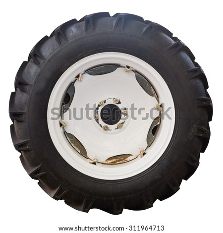 Tractor tire,isolated on white background. - stock photo