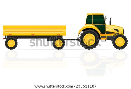 tractor trailer illustration isolated on white background - stock photo