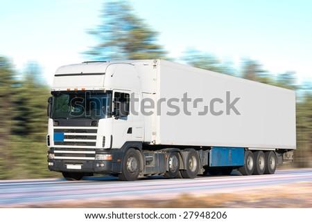 tractor trailer truck - stock photo