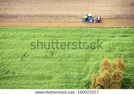 tractor - view out of a hotair ballon - stock photo