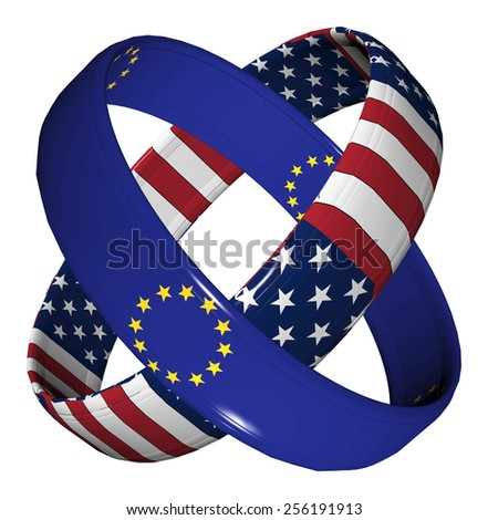 Trade Agreement USA and EU. Symbol for the Transatlantic Trade and Investment Partnership TTIP - stock photo