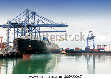 Trade asia port while load the job of Thailand - stock photo