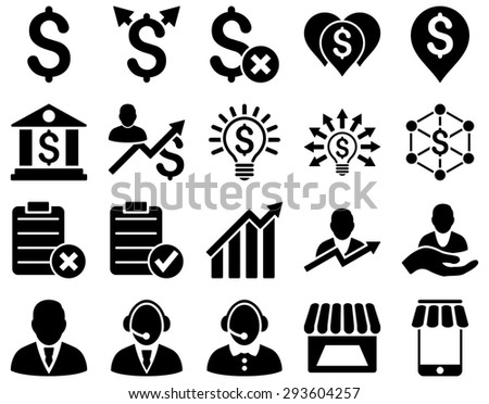 Trade business and bank service icon set. These flat icons use black color. Images are isolated on a white background. Angles are rounded. - stock photo