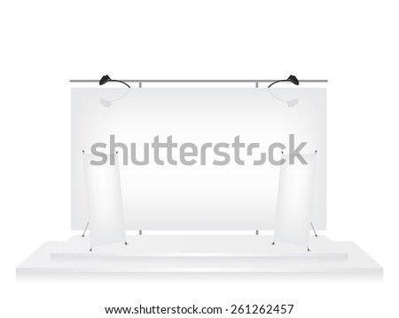 Trade exhibition stand and roll up x-stand banner illustration - stock photo
