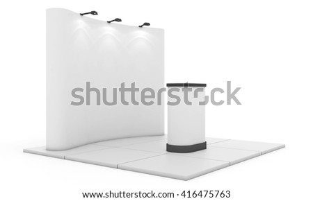 Trade exhibition stand, Exhibition Stand round. Blank trade show booth mock up. 3D rendering  - stock photo