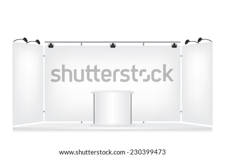 Trade exhibition stand on white background - stock photo
