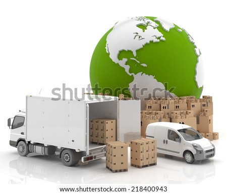 Trade in USA - Made in USA - Transportation - stock photo