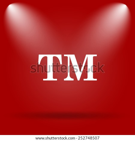 Trade mark icon. Flat icon on red background.  - stock photo