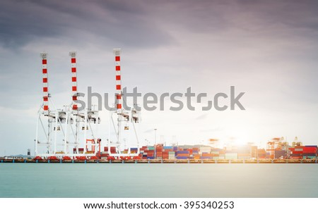 Trade Port and transport in the morning - stock photo