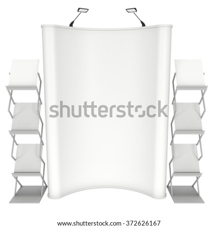 Trade show booth and magazine rack stand for magazines white and blank. 3d render isolated on white background. High Resolution. Ad template for your expo design. - stock photo