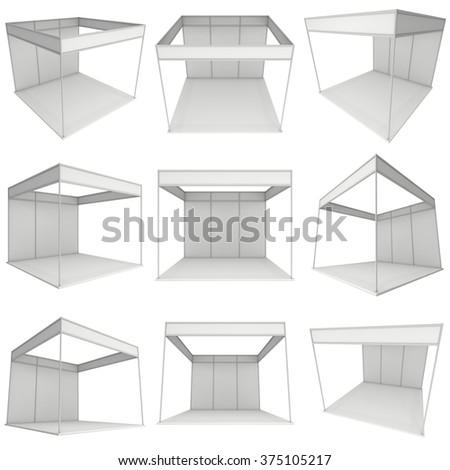 Trade Show Booth Box Set. White and Blank. Blank Indoor Exhibition with Work Paths. 3d render isolated on white background. High Resolution Ad Template for your Expo design. - stock photo