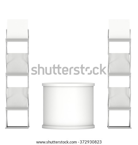 Trade show booth stage podium and magazine rack white and blank. 3d render isolated on white background. High Resolution. Ad template for your expo design. - stock photo