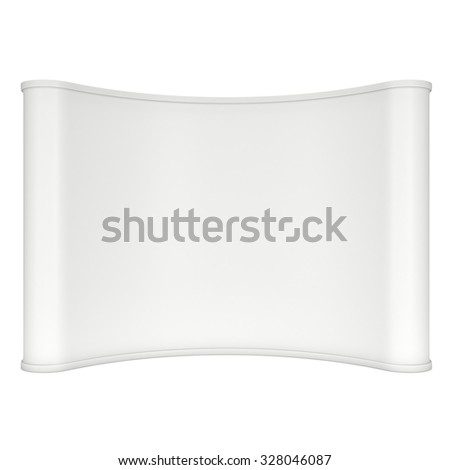 Trade show booth white and blank. 3d render isolated on white background. High Resolution Template for your design. - stock photo