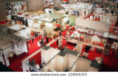 Trade show interior location view. Intentionally blurred background. - stock photo