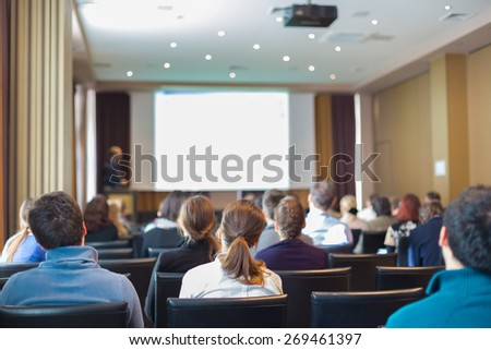 Trade union advisory committee meeting . Audience at the conference hall. - stock photo