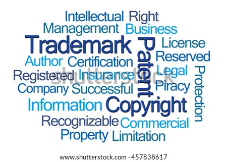 Trademark Word Cloud on White Background - stock photo