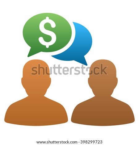 Trader Chat glyph toolbar icon for software design. Style is a gradient icon symbol on a white background. - stock photo