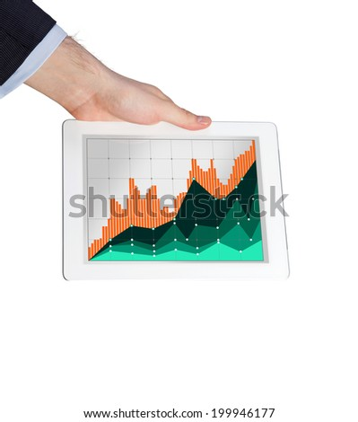 Trader's hand holding a tablet with the forex quotations and rates of the shares, isolated background. - stock photo