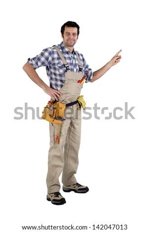 Tradesman showing his work - stock photo