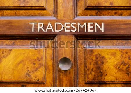 Tradesmen door sign - stock photo