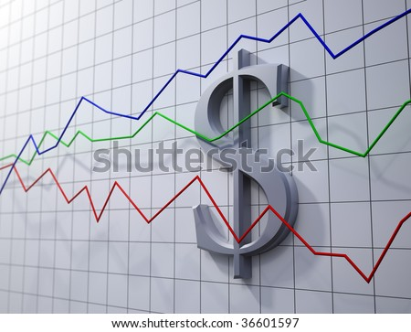 trading - dollar rating chart - stock photo