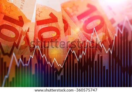 Trading European Euro Currency Concept Illustration with Ten Euro Banknotes. Trading Business - stock photo