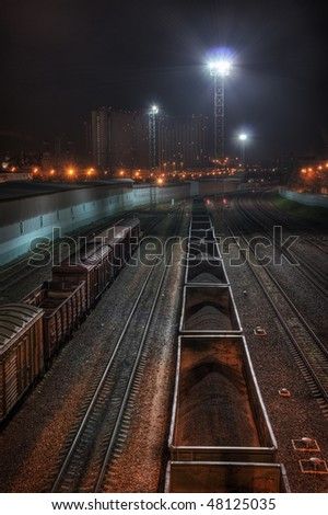 Trading trains at night. Moscow - stock photo