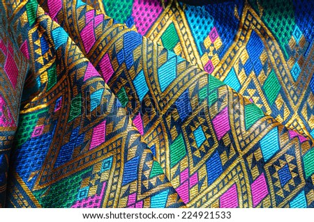 Tradition asia silk fabric pattern background - stock photo