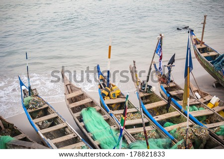Traditional African Fishing Boats - stock photo