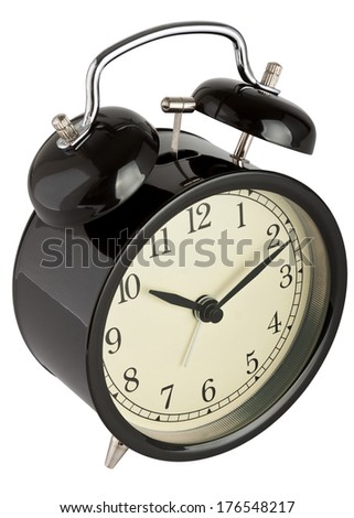 Traditional alarm clock isolated on white  - stock photo