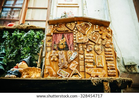 Traditional Alsatian biscuits on a house facade - stock photo