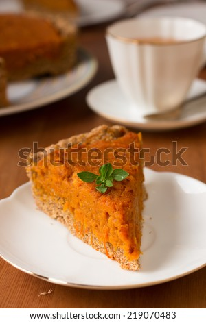 Traditional American and Canadian pumpkin pie for Thanksgiving day. Healthy vegan pie with whole-wheat flour - stock photo