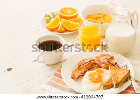 Traditional american breakfast  - stock photo