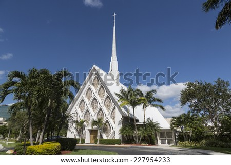 Traditional American white church in the fall, Florida - stock photo