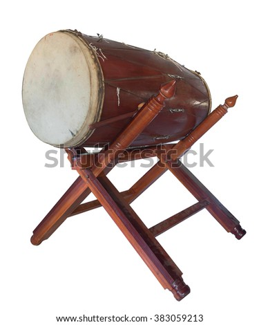 traditional ancient Asian drum in Buddhism temple on white background. - stock photo
