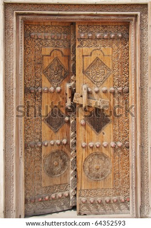 Traditional ancient door - stock photo